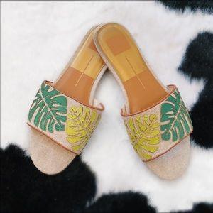 Dolce vita palm leaf print slip on sandal slides